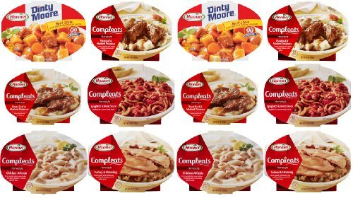 - Hormel Compleats Meals - Variety Flavors (Total of 12 - 7.5 to 10 Ounce Microwavable Bowls) Beef Stew, Meatloaf, Roast Beef, Spaghetti, Chicken Alfredo, Turkey & Dressing