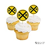 Fun Express Railroad Crossing Sign Cupcake Picks - 25 Pieces