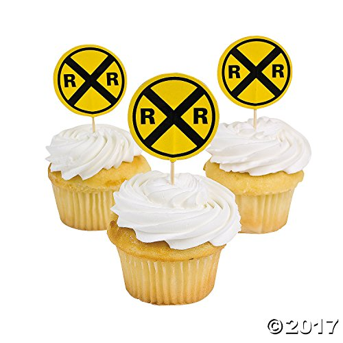 Railroad Train Pc - Fun Express Railroad Crossing Sign Cupcake Picks - 25 Pieces