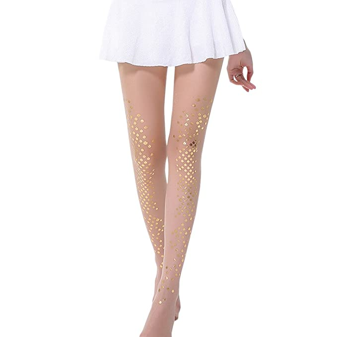 7e0b26c39 Novia s Choice Women Ultra Sheer Fish Scale Pantyhose Leggings Tights  Stretchy Stocking Soft Hosiery(Gold
