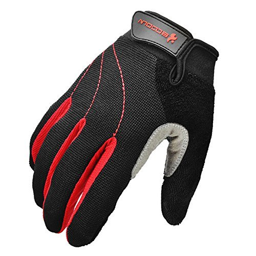 Ezyoutdoor Unisex Full Finger Sport Glove for Cycling Gloves Mountain Bike Bicycle MTB Downhill Off Road (Red, Medium)