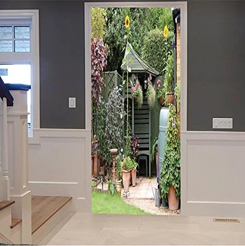 scocici1588 3d Door Wall Mural Wallpaper Stickers-english back garden patio area in summer with For Room Decor 30x79