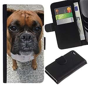Bullmastiff Boxer Dog Pet Breed - la tarjeta de Crédito Slots PU Funda de cuero Monedero caso cubierta de piel Apple iPhone 4 / iPhone 4S / 4S