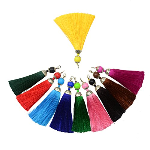 (10pcs 4.5'' Handmade Silky Floss Lobster Clasp Tassel Key Chain Beads Bookmark Tassel Pendant for DIY Crafts Jewelry Making (Mixed Color))