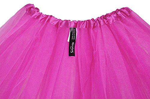 La Tul 3 Tutú De Mujer Falda Elástico nbsp;capas Rosa Simplicidad Classic anXw5078qq