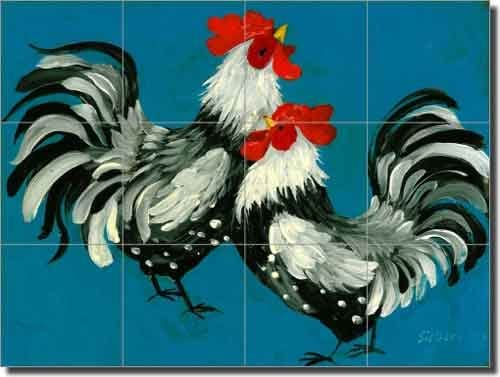 Chickens in a Barnyard by Edgar Hunt Ceramic Tile Mural 17 x 25.5 Kitchen Backsplash