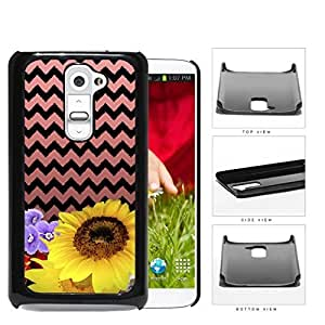 Sunflower Pink And Black Chevron Hard Plastic Snap On Cell Phone Case LG G2
