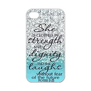 Generic She Is Clothed with Strength & Dignity She Laughs Without Fear of the Future Proverbs 31:25 - Bible Verse Blue Sparkles Glitter Design Case Cover for Iphone 4 4s