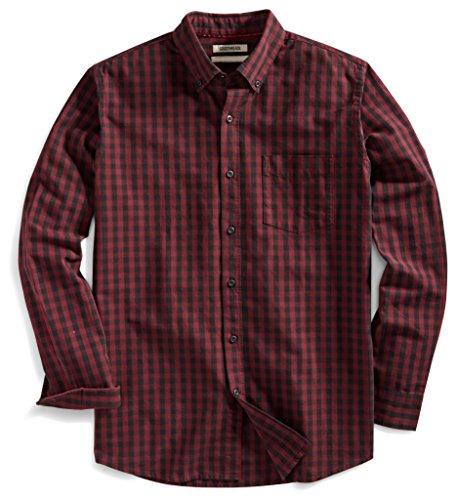 Goodthreads Mens Standard-Fit Long-Sleeve Gingham Slub Shirt
