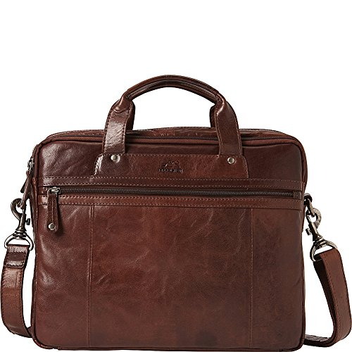 Mancini Leather Goods Zippered Double Compartment Briefcase with RFID Secure