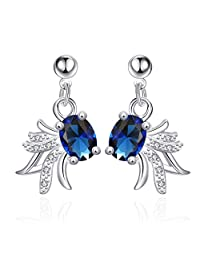 JewelleryClub Silver Plated Navy Blue Swarovski Elements Crystal Goldfish Drop Earrings for Women