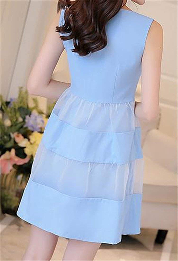 Bleu Clair US-  Petit MJY Robe femme plissée à hommeches longues en organza splice,Bleu clair,-Petit