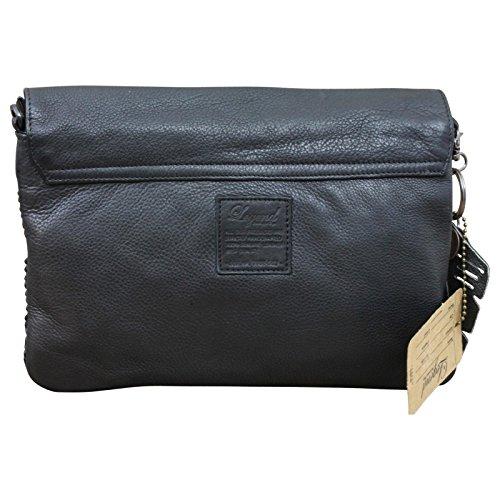 LEGEND Flecht Schultertasche Damen - Tasche Shopper Leder im Vintage-Style, Farbe:Schwarz Schwarz