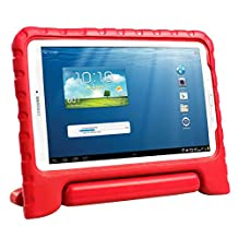 HDE Kids Shockproof Case for Samsung Galaxy Tab E 9.6 Inch Protective Cover Handle Stand (Red)