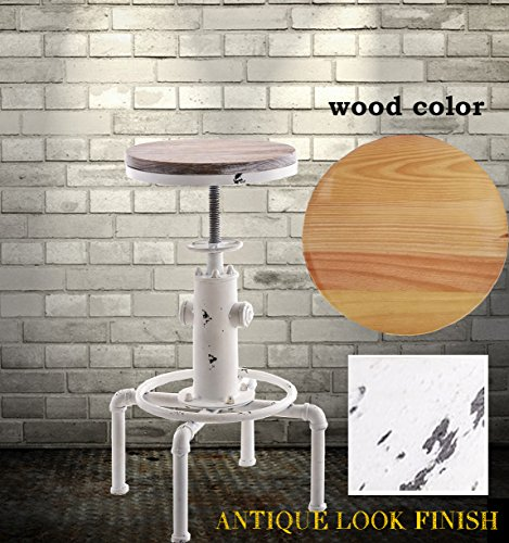 Diwhy Industrial Design Antique Metal Adjustable Height Bar Stool fire hydrant design Bar Chair Kitchen Dining Breakfast Chair Natural Pinewood Stool (white color) (Black Natural Bar Stools)