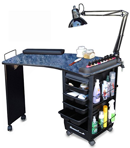 390 Manicure Nail Table Lockable Cabinet w/Black Marble Laminated ...