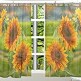 Cheap ALAZA 2 PCS Window Decoration Sheer Curtain Panels,Cute Sunflower Floral,Polyester Window Gauze Curtains Living Room Bedroom Kid's Office Window Tie Top Curtain 55×78 inch Two Panels Set Design 50