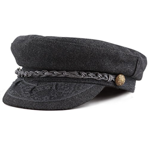 The Hat Depot 1400CD1970 Winter Unisex 100% Wool Greek Fisherman's Hat (L/XL, Charcoal) (Cap Fisherman Greek)