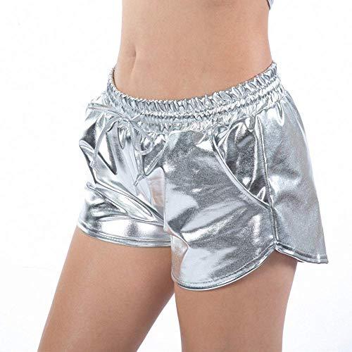 (Women's Metallic Shorts,Yoga Hot Shorts Elastic Drawstring Shiny Metallic)