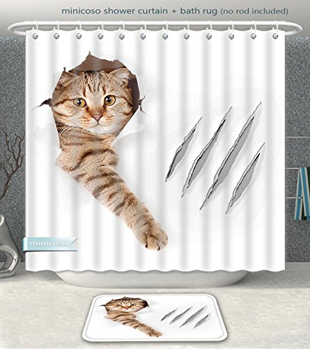 ece Suit Animal Funny Cat in Wallpaper Hole with Claw Scratches Playful Kitten Cute Pet Picture Brown White Shower Curtain And Bath Rug Set, 60