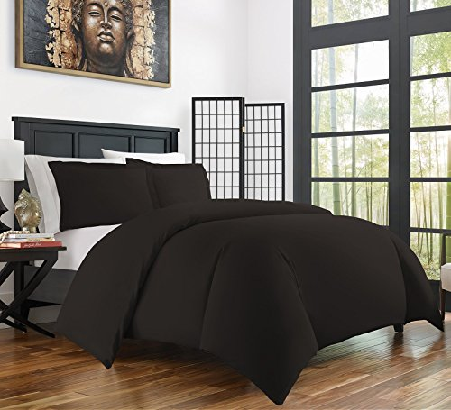 Zen Bamboo Ultra Soft 3-Piece Bamboo Derived Rayon Duvet Cover Set -Hypoallergenic and Wrinkle Resistant - Full/Queen - Black (Fq Quilt Fabric)