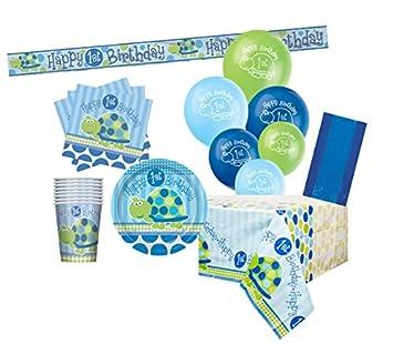 Unique Party- Kit para 8 de fiesta de primer cumpleaños con tortuga, Color azul (83171)