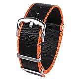 PBCODE Seat Belt Watch Strap 24mm NATO Watch Band Nylon Strap Black/Orange Stitching