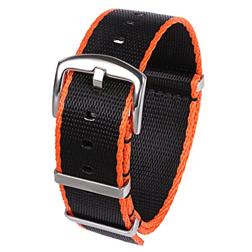 - PBCODE Seat Belt Nylon NATO Strap Heavy Duty Military G10 Watch Band Replacement Watch Straps 22mm Black Orange