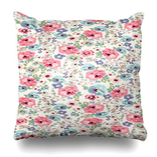 Aika Designs Throw Pillows Covers Pillowcase Tile Pink Floral Flower Pattern Abstract Green Petal English Garden Ornate Rosebud Vintage Flora Home Decor Zippered 20
