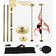 45mm Professional Exotic Removable Pole Dance Exercise Fitness Titanium GOLD with 2 Carrying Black Bags