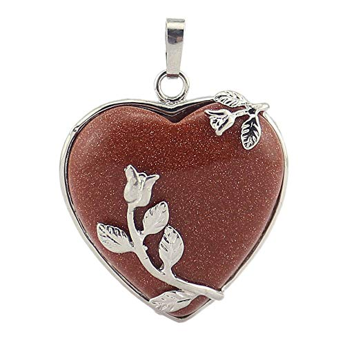 - Natural Gemstone Pendant Flower Pattern Heart Shape 7 Chakra Stone Pendants (Goldstone)