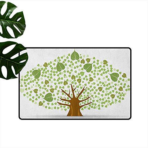 Tree,Floor Mats Sacred Fig Bodhi Tree Illustration Full of Leaves Spiritual Enlightenment 18