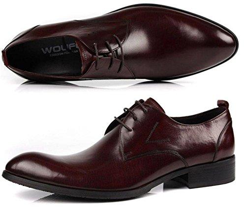 Hombres Negocio Cuero Con cordones Zapatos Plano Primavera Vestir marrón Negro Puntiagudo Soltero Casual Oxfords tamaño 38-44 Wine Red