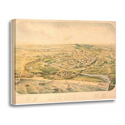 California Ca Panoramic Map - TORASS Canvas Wall Art Print Views Santa Cruz Ca Panoramic Map 1586A California Artwork for Home Decor 20