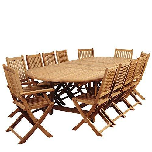 International Home Miami SC DIANDLX-10YOG-2YOGARM Amazonia Highland Park 13 Piece Teak Double-Extendable Oval Dining Set (Highland Park Bench)