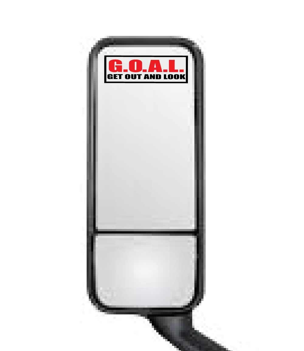 Darknalia Goal 4'' x 2'' Mirror Stickers for semi Trucks Cars Automotive OSHA diesels- Get Out and Look - Safety Labels (250)