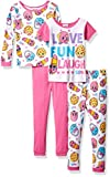 Shopkins Big Girls' Cotton Pajama-4-Piece Set, Pink, 8