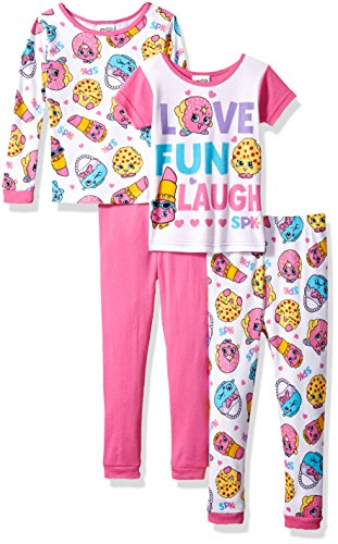Shopkins Little Girls' Cotton Pajama-4-Piece Set, Pink, 6 ()