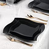 Kaya Collection - Wave Black Disposable Plastic Dinnerware Party Package - 60 Person Package - Includes Dinner Plates, Salad/Dessert Plates, Gold Cutlery and Tumblers