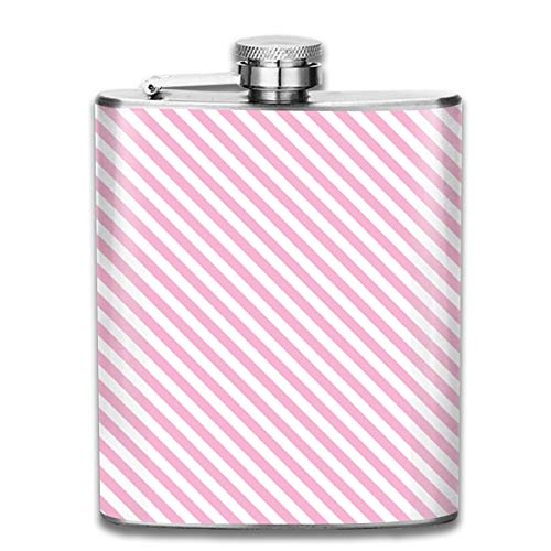 (TPSXXY Pink Striped Diagonal Christmas Stainless Steel 7 Oz Hip Flask Men Women Silver Alcohol Whiskey Liquor)