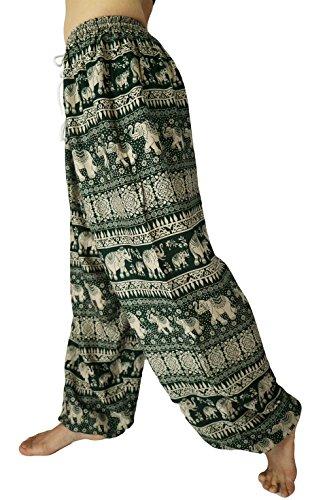 Pantalones anchos para mujer con elástico Verde