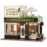 Flever Dollhouse Miniature DIY House Kit Manual Creative With Furniture for Romantic Artwork Gift (Travel in Paris Cafe Plus Dust Proof Cover)