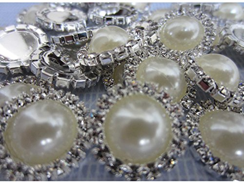 Buttons – LeBeila Flatback Embellishments 15 MM Crystal Pearl Fabric Sewing Fasteners Glue On Metal Accessories For Craft, Wedding Dress & Clothing Decorations (10 pcs, Beige) ()