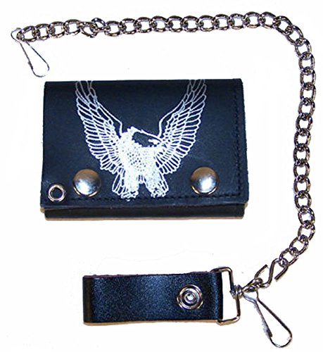 Flying Eagle Wings up Mens Biker Leather Tri-fold Wallet with Chain ()