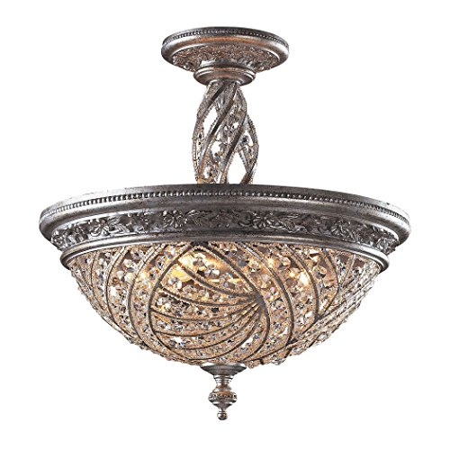 Alumbrada Collection Renaissance 3 Light Semi Flush In Sunset Silver