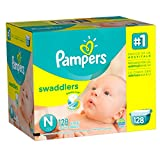 Pampers Swaddlers Diapers, Size N, Giant Pack, 128 Count (Packaging May...