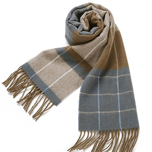 Erigaray 100% Wool Mens Scarf Plaid Winter Warm Fashion knit Scarfs For Men by Erigaray