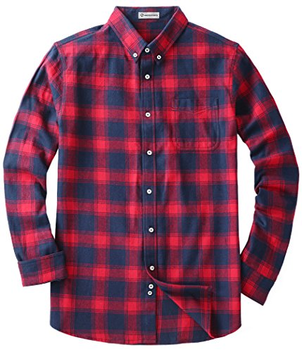 MOCOTONO Men's Long Sleeve Flannel Plaid Dress Shirt Western Button Down Shirts Red and Navy - Big Plaid Shirt Flannel