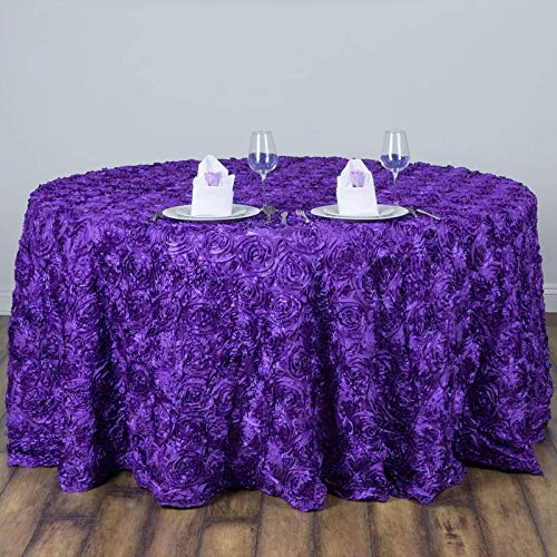 "Efavormart 120"" Wholesale Round Table Cover Purple Grandiose Rosette 3D Satin Tablecloth for Wedding Party Event Decoration"