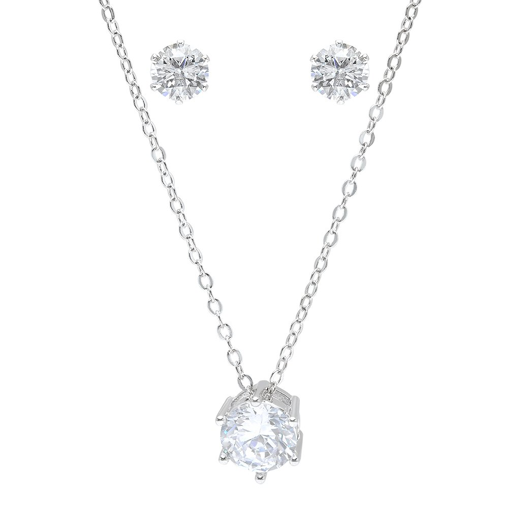 Bridesmaid Gifts - Pretty Simple Cubic Zirconia Necklace & Earrings Set (18'', rhodium plated)